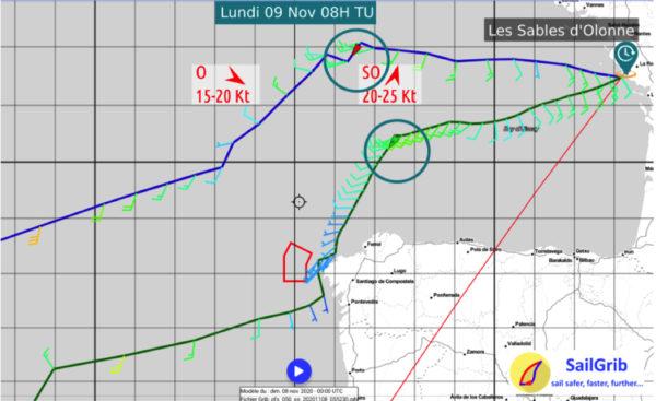 Routages SailGrib avec GFS 0,5° le dimanche 8 novembre 00h UTC