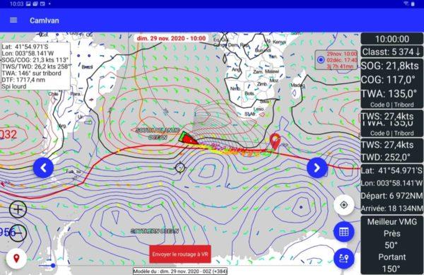Position et trace du bateau affichés en temps réel